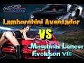 Drag Race 1/4 mile - Lamborghini Aventador vs Mitsubishi Lancer Evolution VIII