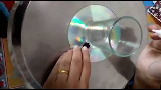 Best use of CD/ Diwali decoration with Water candle /floating diya