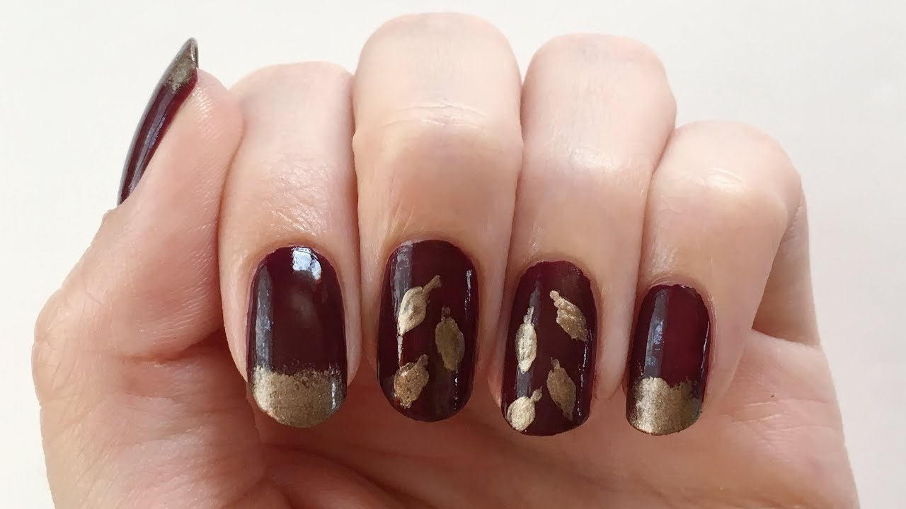 Herbst Nageldesign Goldene Blatter Seni Nageldesign Youtube