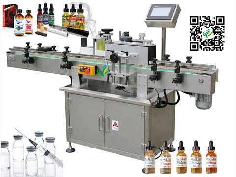 Vial Bottles Labeling Machine Vertical Label Applicator With Hot Stamp Printers Bottle Labeller