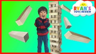 giant jenga like wooden tumbling tower family fun game for kids kinder egg surprise toys