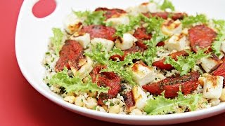 Bulgur, Chickpeas, Roasted Tomatoes And Grilled Halloumi Cheese: A Healthy Mediterranean Salad