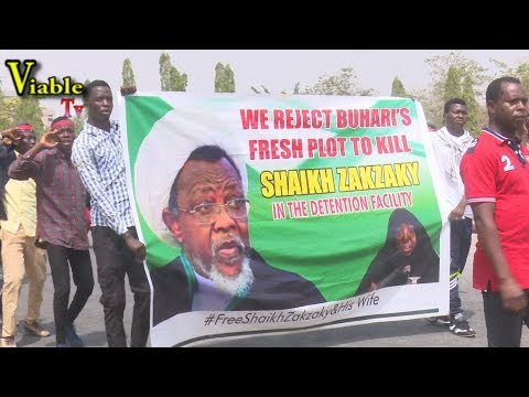 Happening Now : El-Zakzaky Supporters Storm Abuja, Vow to Vote Buhari Out