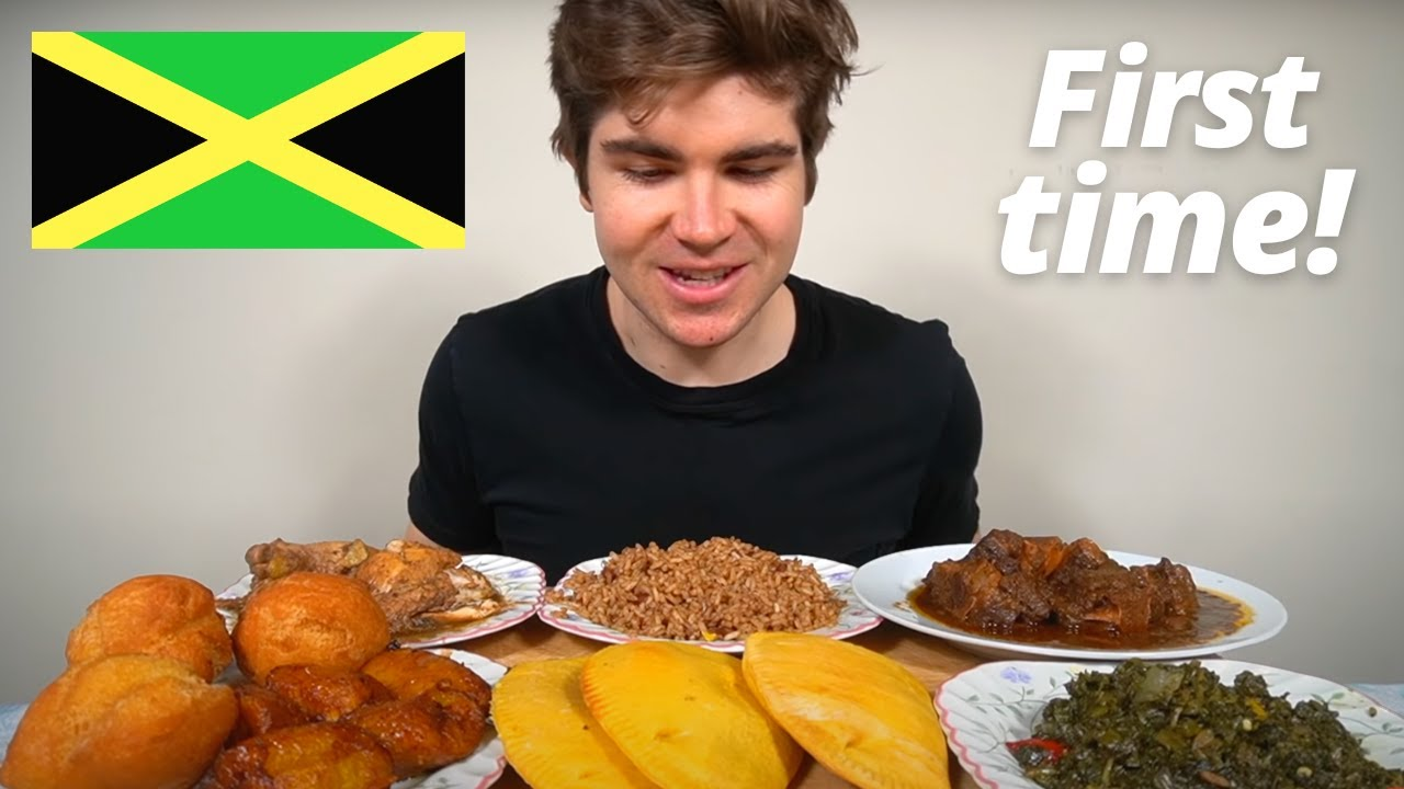 First time Eating Jamaican Food Mukbang (Feast)