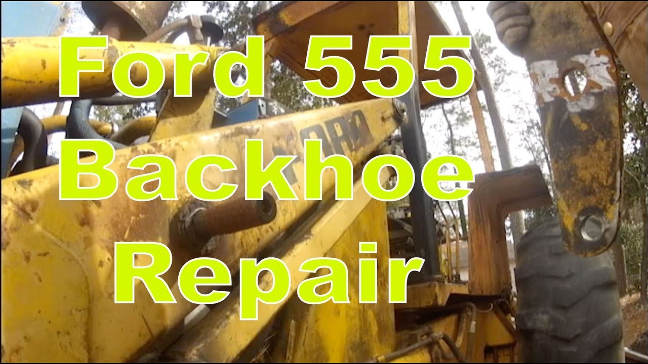 1981 ford 555 backhoe repair finishing a welded part  [ 1280 x 720 Pixel ]