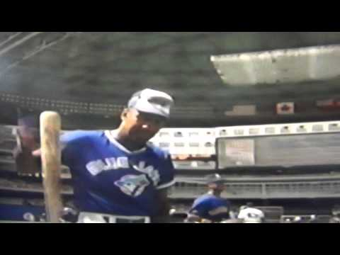 Joe Carter Doing Tricks With His Bat. Toronto Blue Jays
