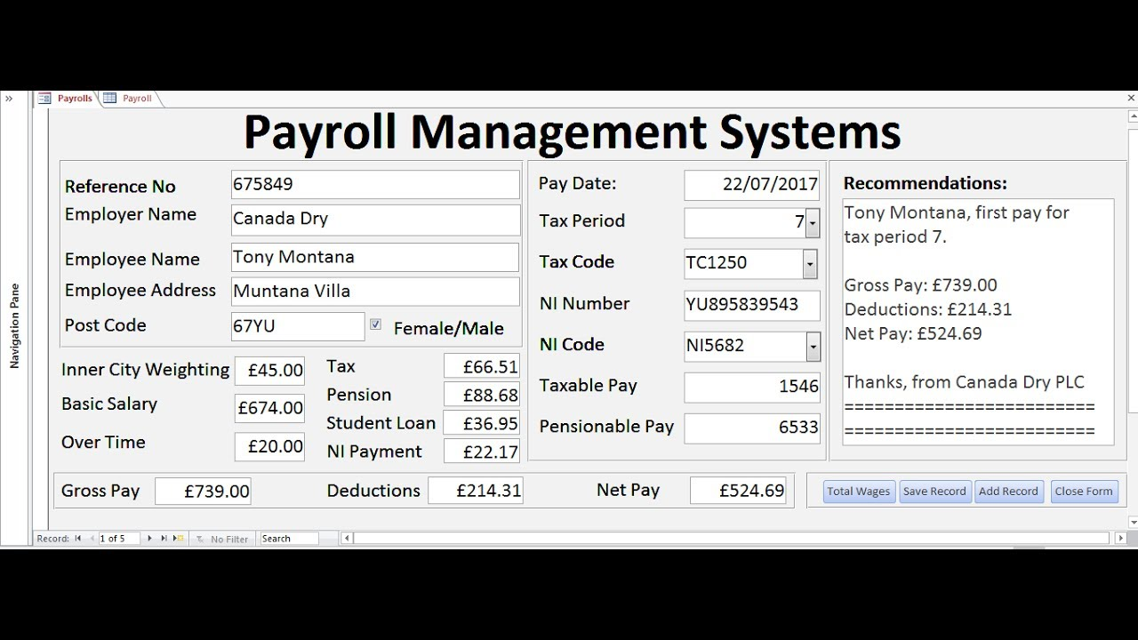 How To Create Payroll Management Systems In Microsoft