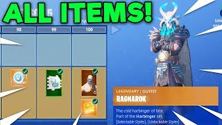 UNLOCKING ALL 100 TIERS! ALL NEW BATTLEPASS ITEMS! *FULL UNLOCK* (Fortnite Battle Royale)