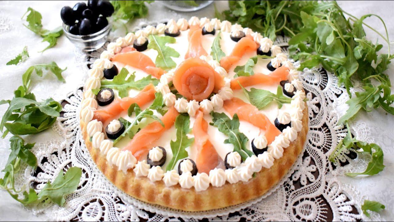CROSTATA SALATA MORBIDA AL SALMONE E RUCOLA - Torta Salata Fredda facile e veloce