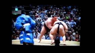 白鵬vs豪風 平成27年大相撲春場所 Hakuho vs Takekaze SUMO Yokozuna.