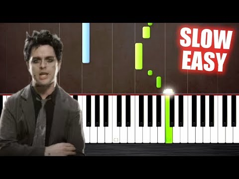Green Day - Boulevard Of Broken Dreams - SLOW EASY Piano Tutorial by PlutaX - Synthesia