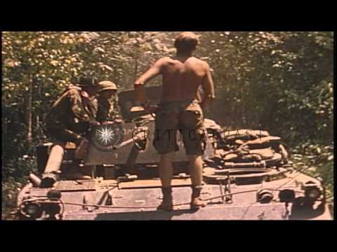 US 9th Infantry Division troops on M113 Armored Personnel Carriers and tanks driv...HD Stock Footage
