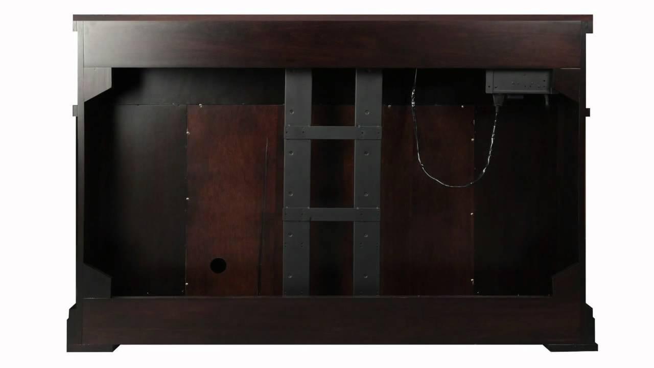 loft espresso fireplace tv lift cabinet youtube