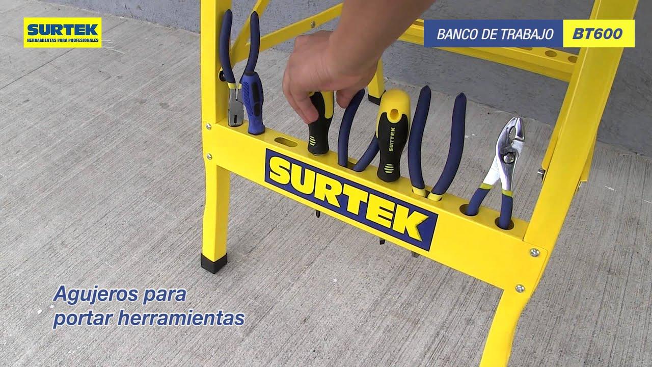 Banco de trabajo surtek youtube for Mesa de trabajo plegable