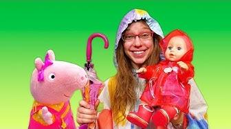 Vauvanuken vaatetus kävelyä varten. Pipsa Possu & Baby Born. Leluvideoita lapsille.
