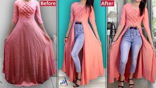 Convert Old Gown/kurti into Fancy Slit Dresses