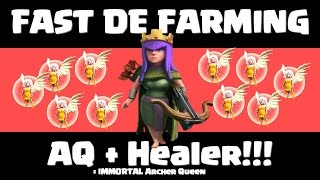Clash of Clans - Cara Cepat Farming DE TH9 - Archer Queen + Healer (Immortal AQ) [Bahasa Indonesia]
