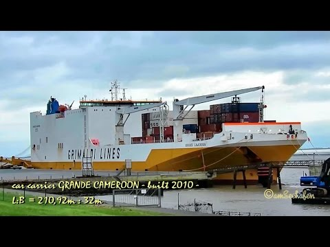 car carrier GRANDE CAMEROON ICEW IMO 9377482 Emden disembarking new cars Autotransporter seaship