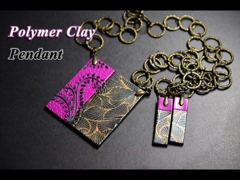 polymer clay tutorial pendant with silkscreen украшения из полимерной глины thumbnail