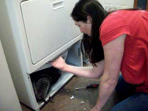 Cleaning out a dryer: By a woman 2 of 2