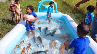 Sneyha, Arbin & Javan Fun Playing With Real Fish in Inflatable Swimming pool - Cute Sneyha's Show