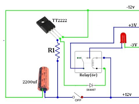 time delay relay circuit diagram 5w led driver power off youtube