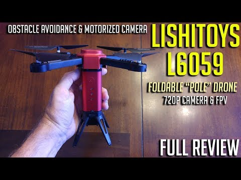 "Lishitoys L6059 foldable FPV ""Pole"" Drone w/obstacle avoidance & Motorized Camera Tilt Review"