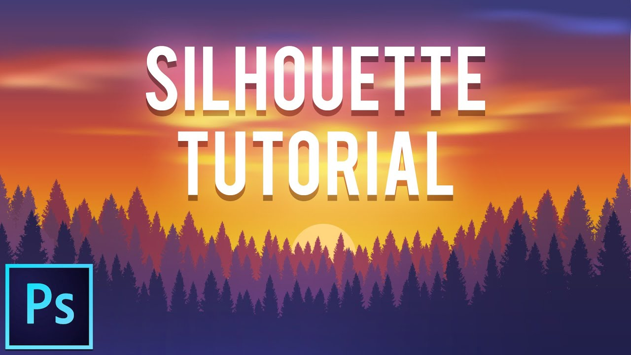 2d silhouette forest banner photoshop tutorial youtube baditri Images