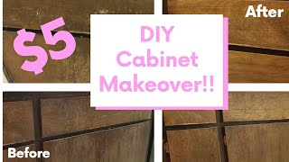 DIY CABINET MAKEOVER FOR UNDER $5 | INEXPENSIVE KITCHEN & BATHROOM UPGRADES