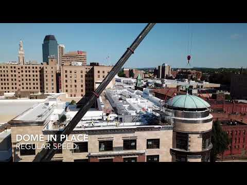 MGM Springfield installs dome on roof of soon-to-open hotel (drone video, photos)