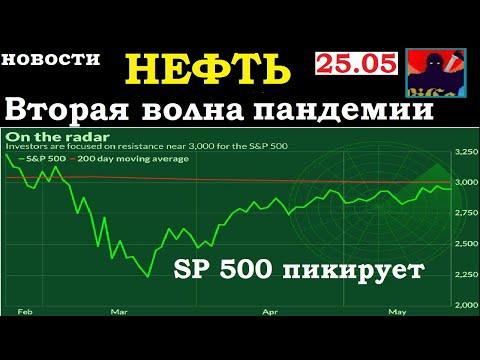 SP500 пикирует,Пандемия - вторая волна,Нефть,Китай-США разгорание конфликта. Новости.Экономика.25.05