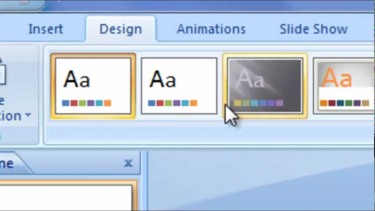 how to change the microsoft powerpoint 2007 designs