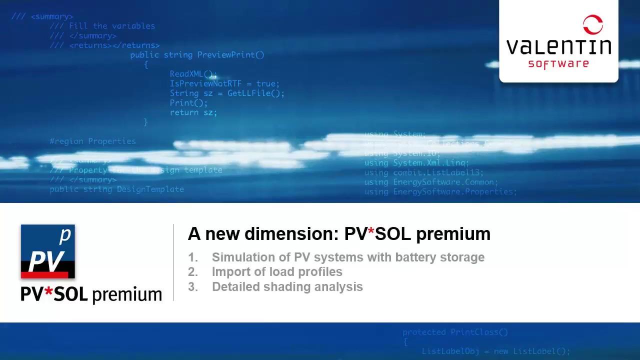 PV Software PV*SOL premium | Valentin Software
