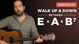 walking up - down between the e, a, and b7 (bass note transitions)
