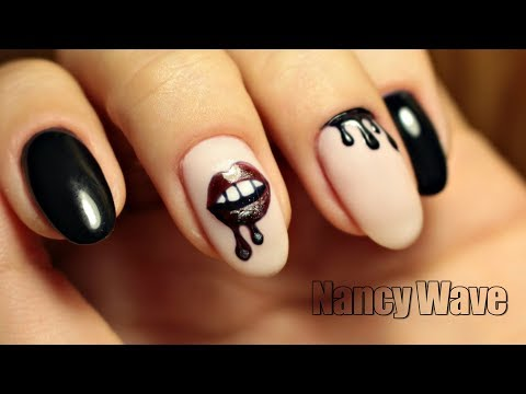 Дизайн ногтей с губами фото