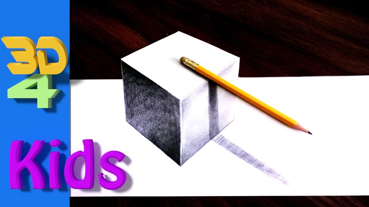 easy 3d draw cube and pencil drawing for kids and ...