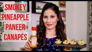 Party food recipe : Smokey Pineapple Paneer Canapé I FunFoods Zero Fat Dressings I Chef Meghna