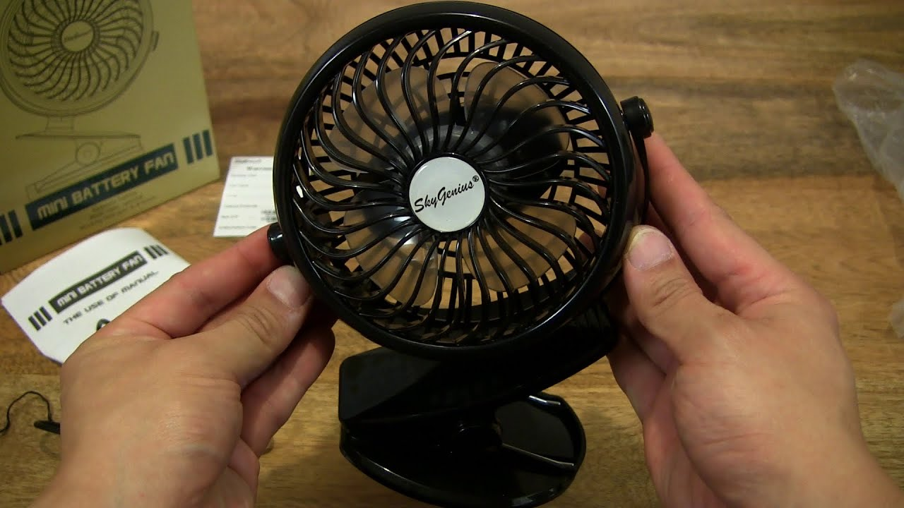 skygenius battery operated clip on fan youtube. Black Bedroom Furniture Sets. Home Design Ideas