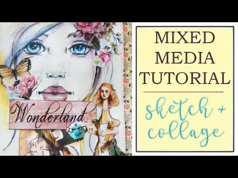 Mixed Media Tutorial - How to Draw a Mixed Media Girl Face (No Reference) - Step by Step