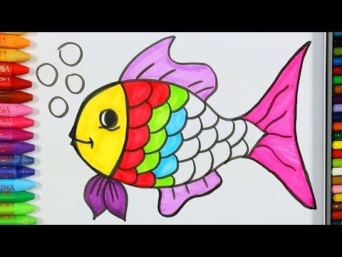 Pagina di colorazione dei pesci💦| Come disegnare i pesci | Pittura di pesce | Impara la colorazione
