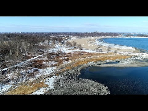 Aerial View of Orchard Beach, Bronx, NY in January 2018