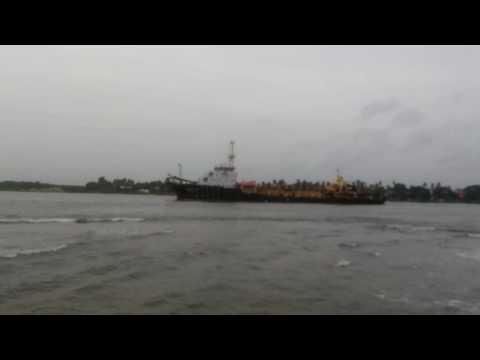 Small Oil tanker ship passing in fortkochi kerala