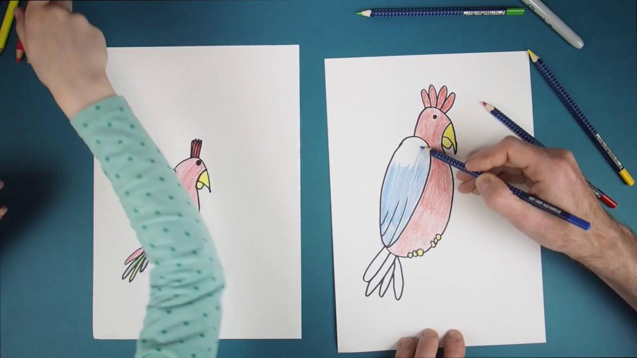 Wie Malt Man Einen Papagei? How To Draw A Perroquet?