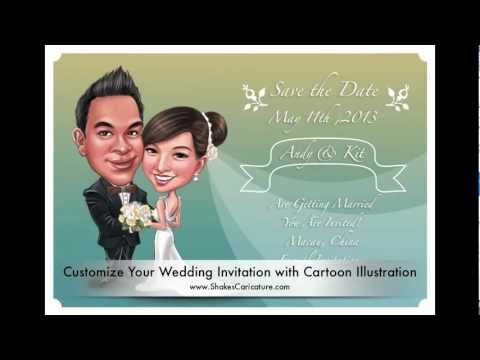 Personalized Wedding Invitations.Personalized Wedding Invitations Save The Date Cards With Your Cartoon Illustration Caricatures