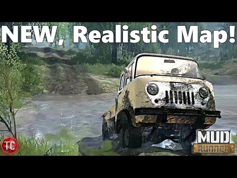 SpinTires MudRunner: NEW, REALISTIC MAP! Lakeview Tour + NEW Jeep FC!