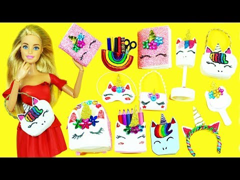 10 DIY MINIATURE UNICORN  Barbie DOLL CRAFTS  & Accessories   #1- simplekidscrafts