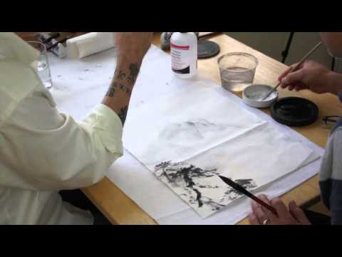 Pouring Ink with Acetone in Chinese Landscape Painting a Liv