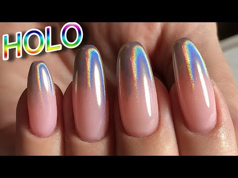 Holographic Ombre Nail / Holo powder! - YouTube