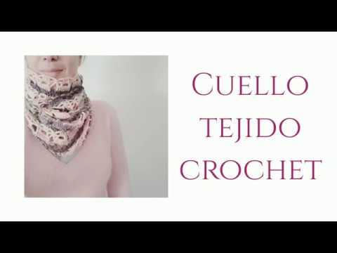 Cuello crochet con punto reina .