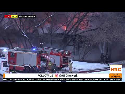Large fire in Moscow, Russia